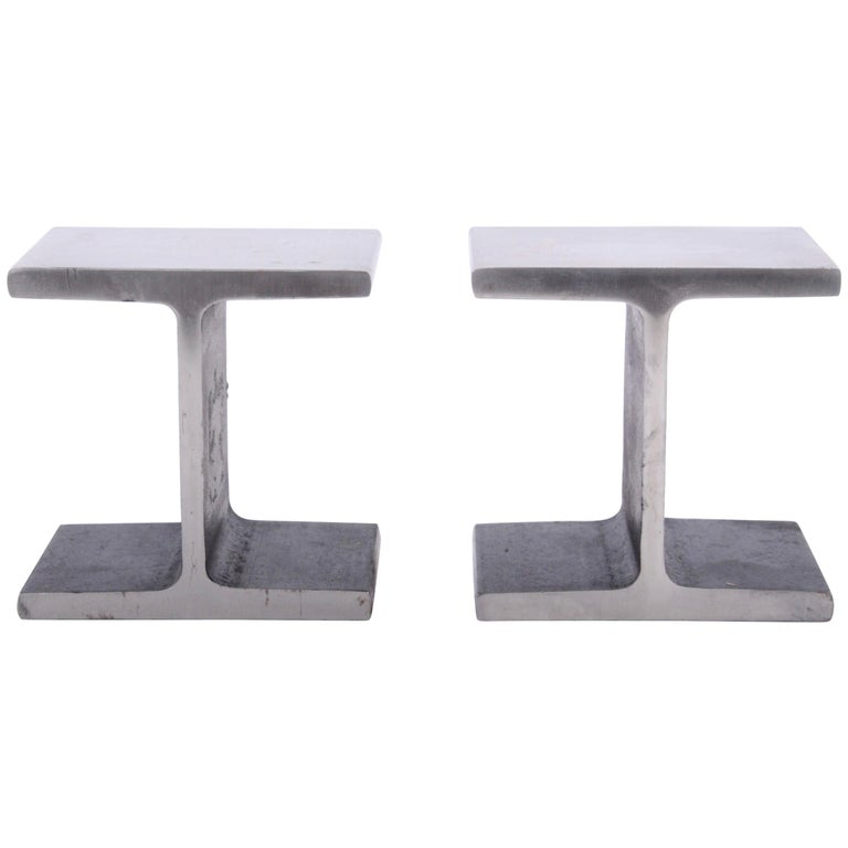 Pair of Ward Bennett Style Steel I Beam Bookends, 1970s For Sale