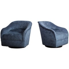 Pair of Ward Bennett Swivel Chairs
