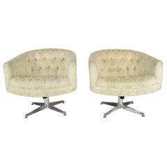 Pair of Ward Bennett Swivel Lounge or Club Chairs