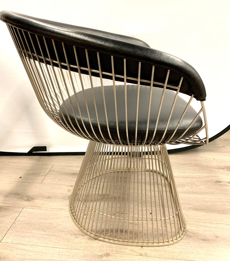 Steel Pair of Warren Platner for Knoll Mid-Century Black Leather and Wire Armchairs For Sale