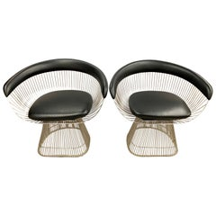 Pair of Warren Platner for Knoll Mid-Century Black Leather and Wire Armchairs