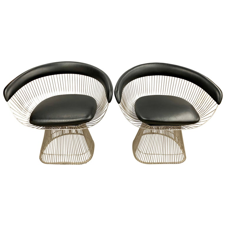Pair of Warren Platner for Knoll Mid-Century Black Leather and Wire Armchairs For Sale