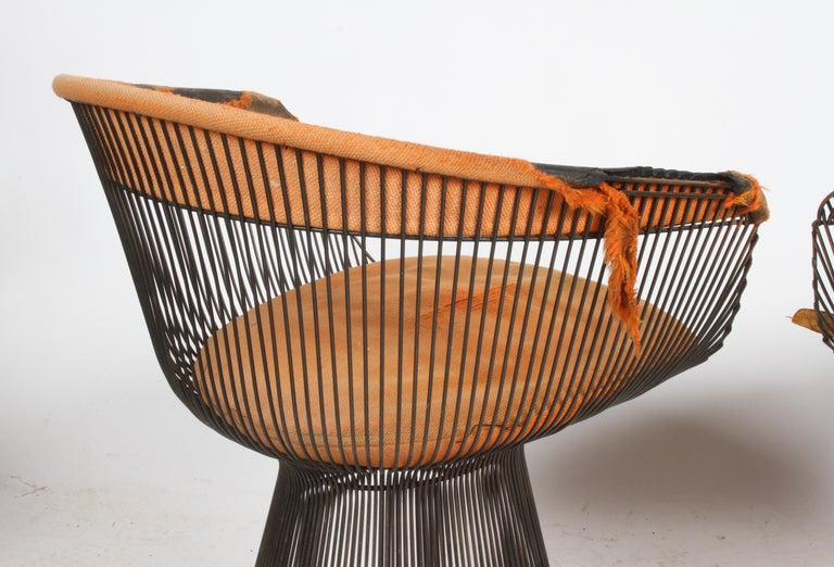 Pair of Warren Platner Bronze Dining Chair for Knoll, Need Restoration For Sale 4