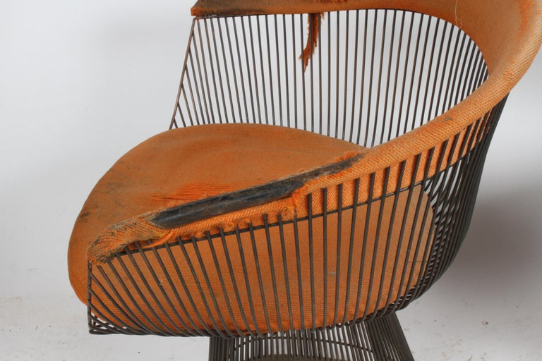 Pair of Warren Platner Bronze Dining Chair for Knoll, Need Restoration For Sale 5
