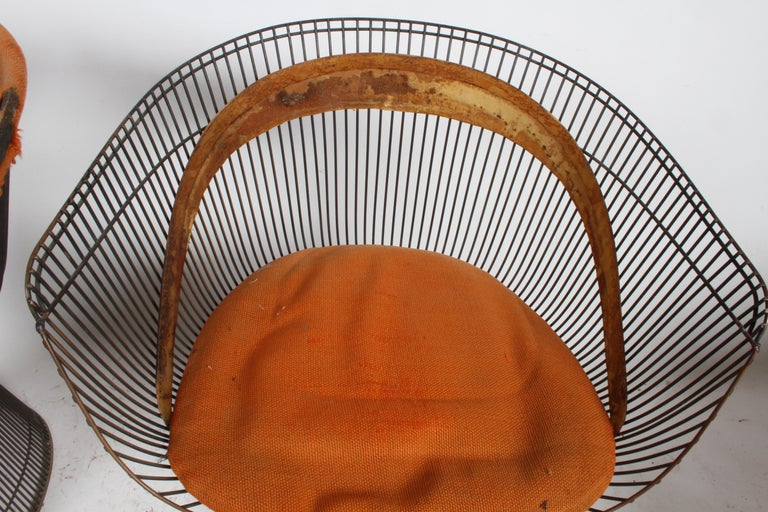 Pair of Warren Platner Bronze Dining Chair for Knoll, Need Restoration For Sale 9