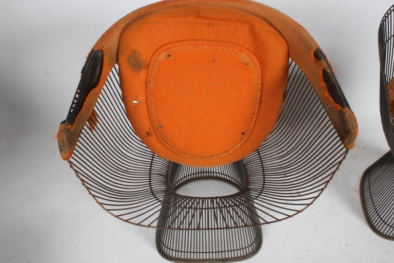 Pair of Warren Platner Bronze Dining Chair for Knoll, Need Restoration For Sale 10