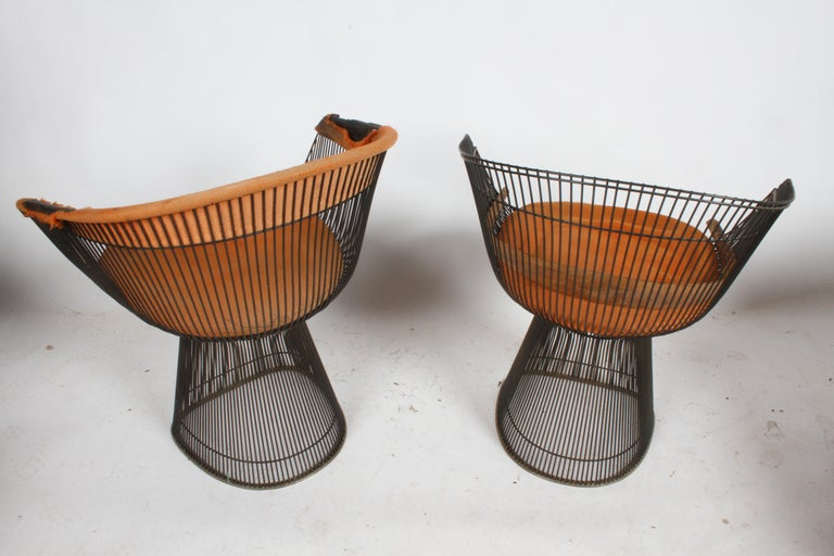 Pair of Warren Platner Bronze Dining Chair for Knoll, Need Restoration For Sale 12