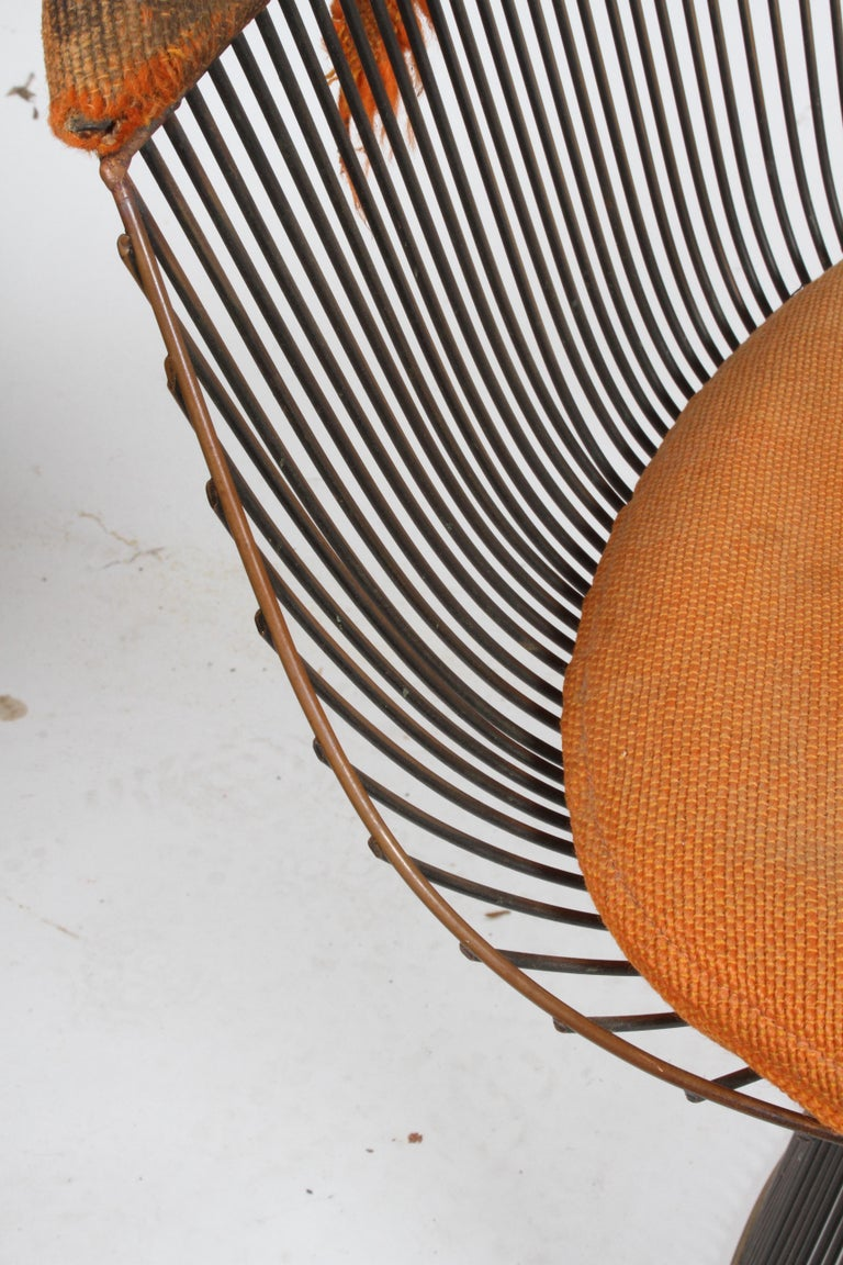 Pair of Warren Platner Bronze Dining Chair for Knoll, Need Restoration For Sale 13