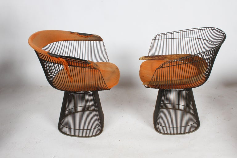 American Pair of Warren Platner Bronze Dining Chair for Knoll, Need Restoration For Sale