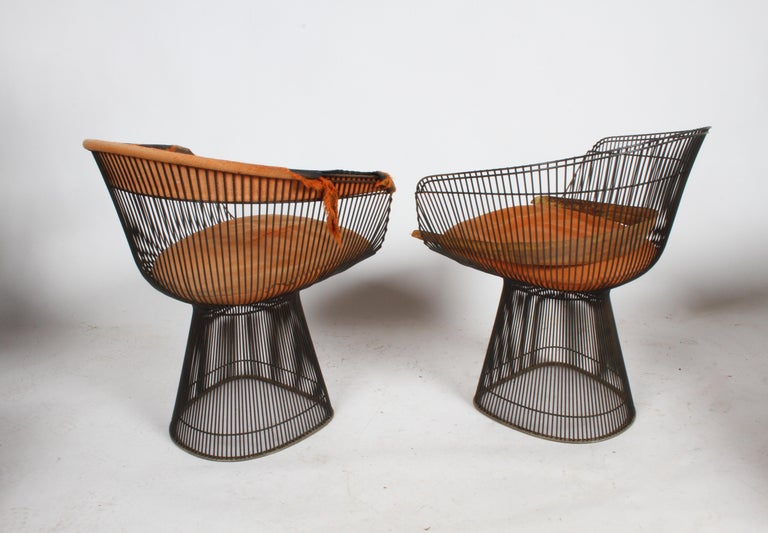 Pair of Warren Platner Bronze Dining Chair for Knoll, Need Restoration In Fair Condition For Sale In St. Louis, MO