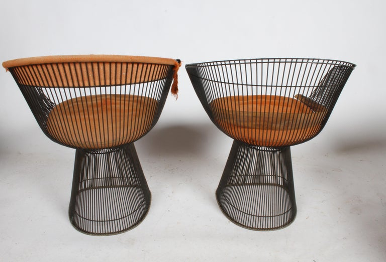 Mid-20th Century Pair of Warren Platner Bronze Dining Chair for Knoll, Need Restoration For Sale