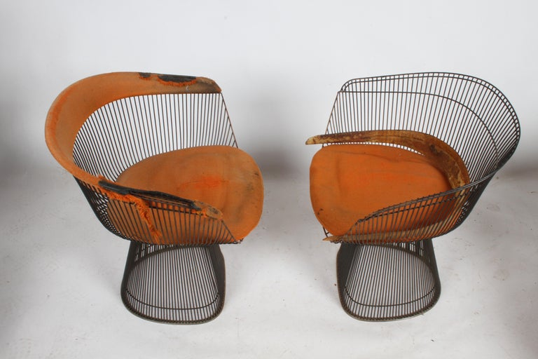 Pair of Warren Platner Bronze Dining Chair for Knoll, Need Restoration For Sale 1