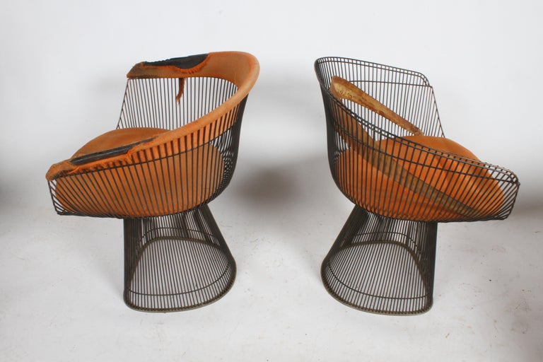 Pair of Warren Platner Bronze Dining Chair for Knoll, Need Restoration For Sale 2