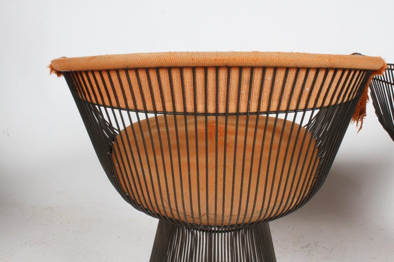 Pair of Warren Platner Bronze Dining Chair for Knoll, Need Restoration For Sale 3