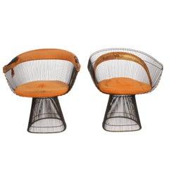 Pair of Warren Platner Bronze Dining Chair for Knoll, Need Restoration