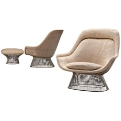 Pair of Warren Platner Easy Chairs with Ottoman for Knoll
