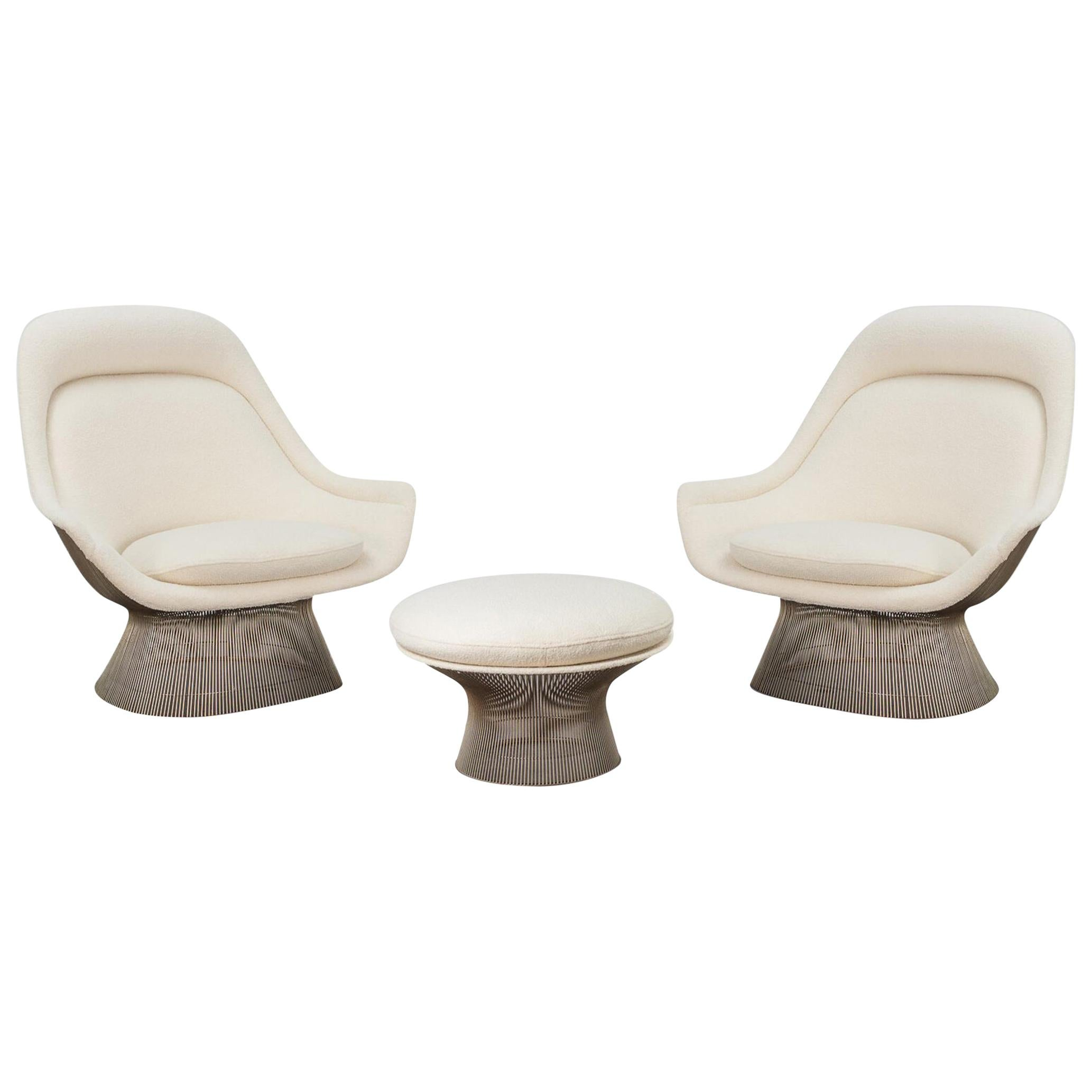 Pair of Warren Platner Easy Lounge Chairs and Ottoman