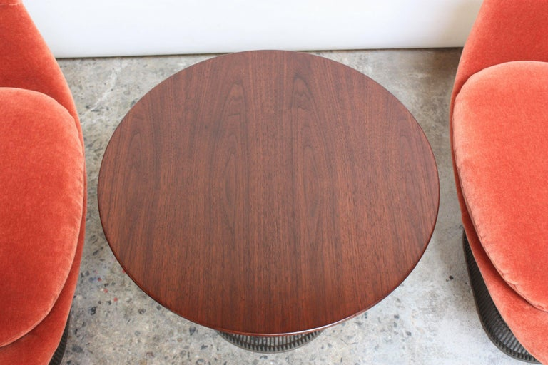 Pair of Warren Platner for Knoll Bronze and Mohair Lounge Chairs with Side Table For Sale 2
