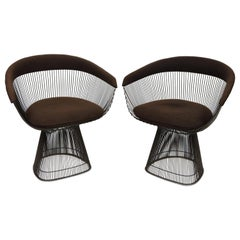 Pair of Warren Platner for Knoll Bronze Wire Dining or Side Chairs
