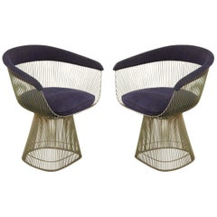 Pair of Warren Platner for Knoll Curved Steel and Blue Upholstered Armchairs