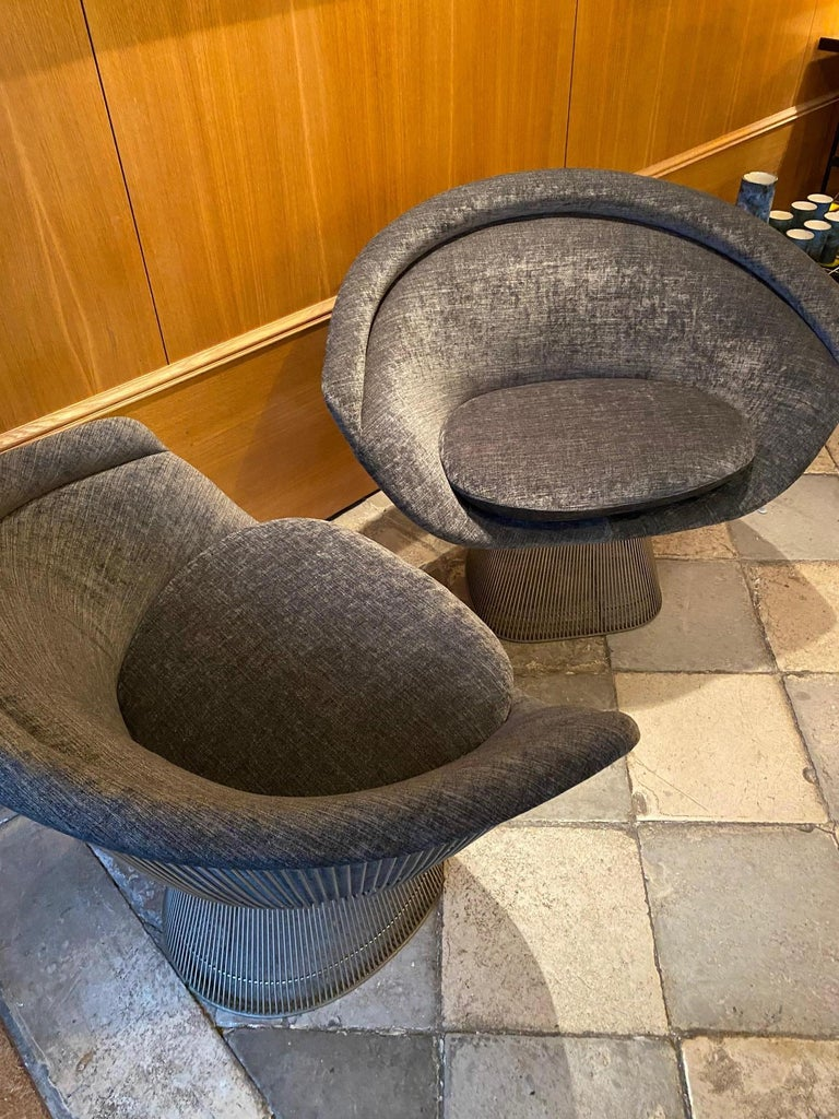 Pair of Warren Platner Lounge Chairs for Knoll For Sale 1
