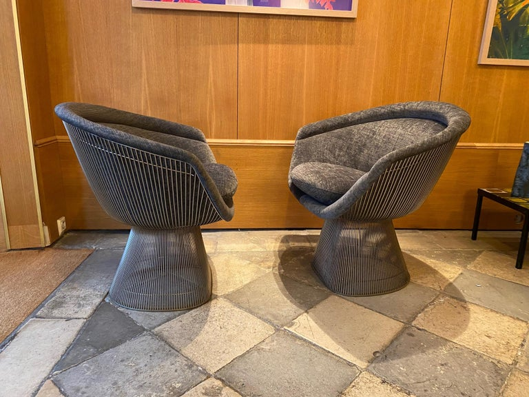 Pair of Warren Platner Lounge Chairs for Knoll For Sale 2