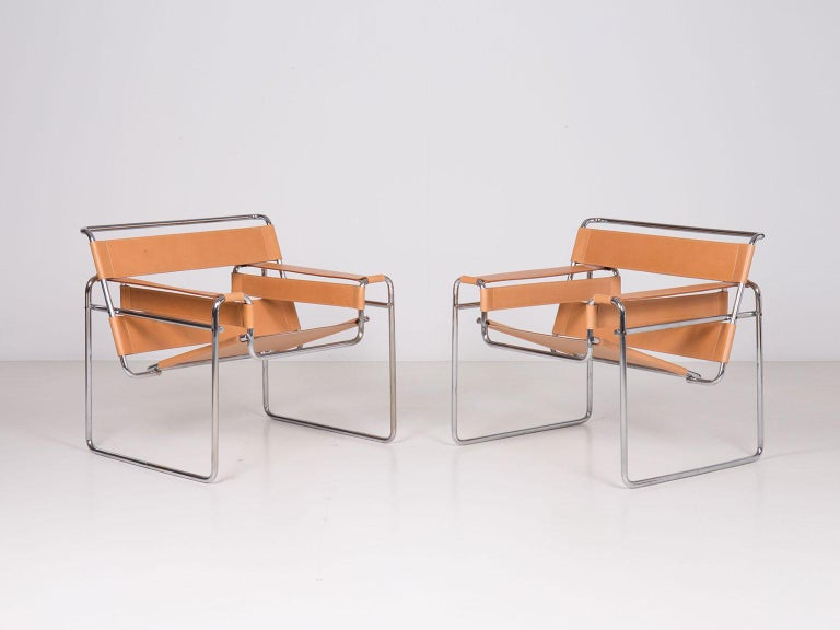 Pair of Wassily lounge chairs dating back to Gavina's production recently restored with new leather upholstery.