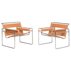 Pair of Wassily Lounge Chairs by Marcel Breuer for Gavina SpA