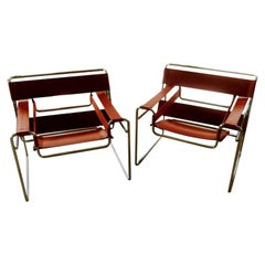 Pair of Wassily Orange Leather Armchairs Tubular Chrome Marcel Breuer for Knoll