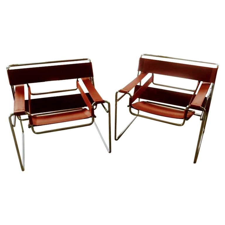 Pair of Wassily Orange Leather Armchairs Tubular Chrome Marcel Breuer for Knoll For Sale