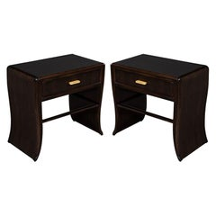 Pair of Water Fall Mozambique and Mahogany Nightstands