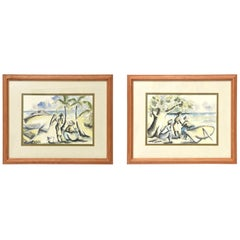 Pair of Watercolor and Ink Seaside Tropical Landscape Drawings Signed