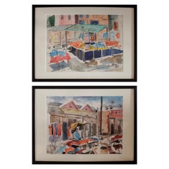 Pair of Watercolors of Maxwell Street in Chicago by David Segel