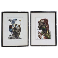 Pair of Watercolors of African Tribesmen by J P Ludo