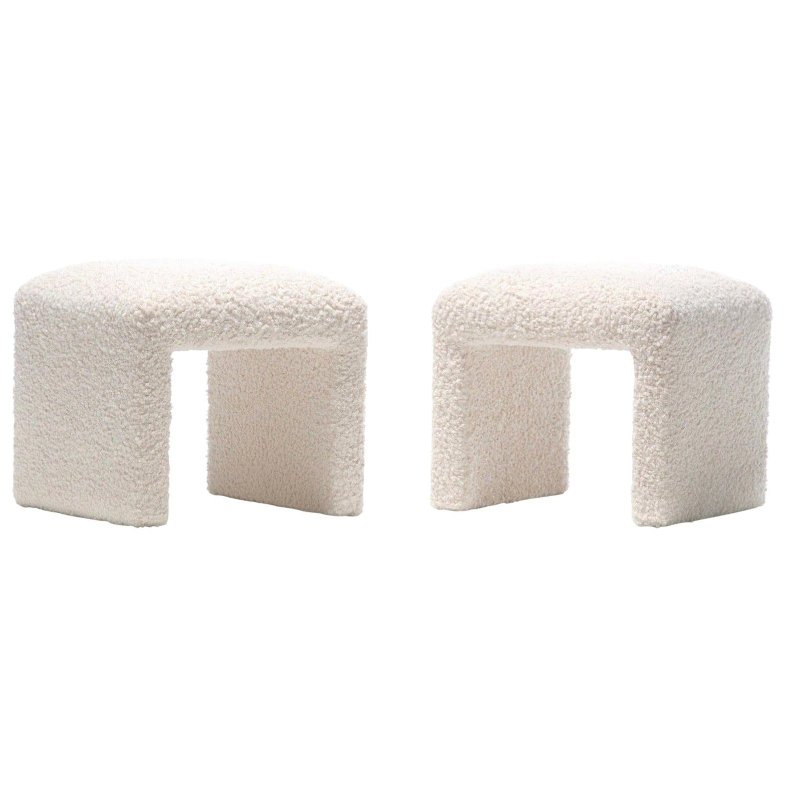 Pair of Waterfall Benches in Ivory Bouclé by Directional, circa 1970s