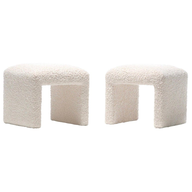 Pair of Waterfall Benches in Ivory Bouclé by Directional, circa 1970s For Sale