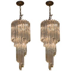 Pair of Waterfall Chandeliers by Camer Company Italy