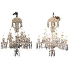 Pair of Waterford Crystal Avoca 10-Arm Chandeliers