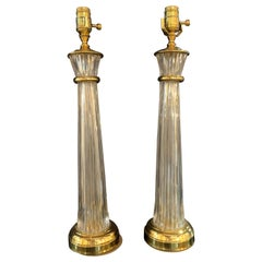 Pair of Waterford Hollywood Regency Style Column Form Table Lamps