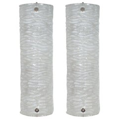 Pair of Wavy Textured Murano Glass Sconces