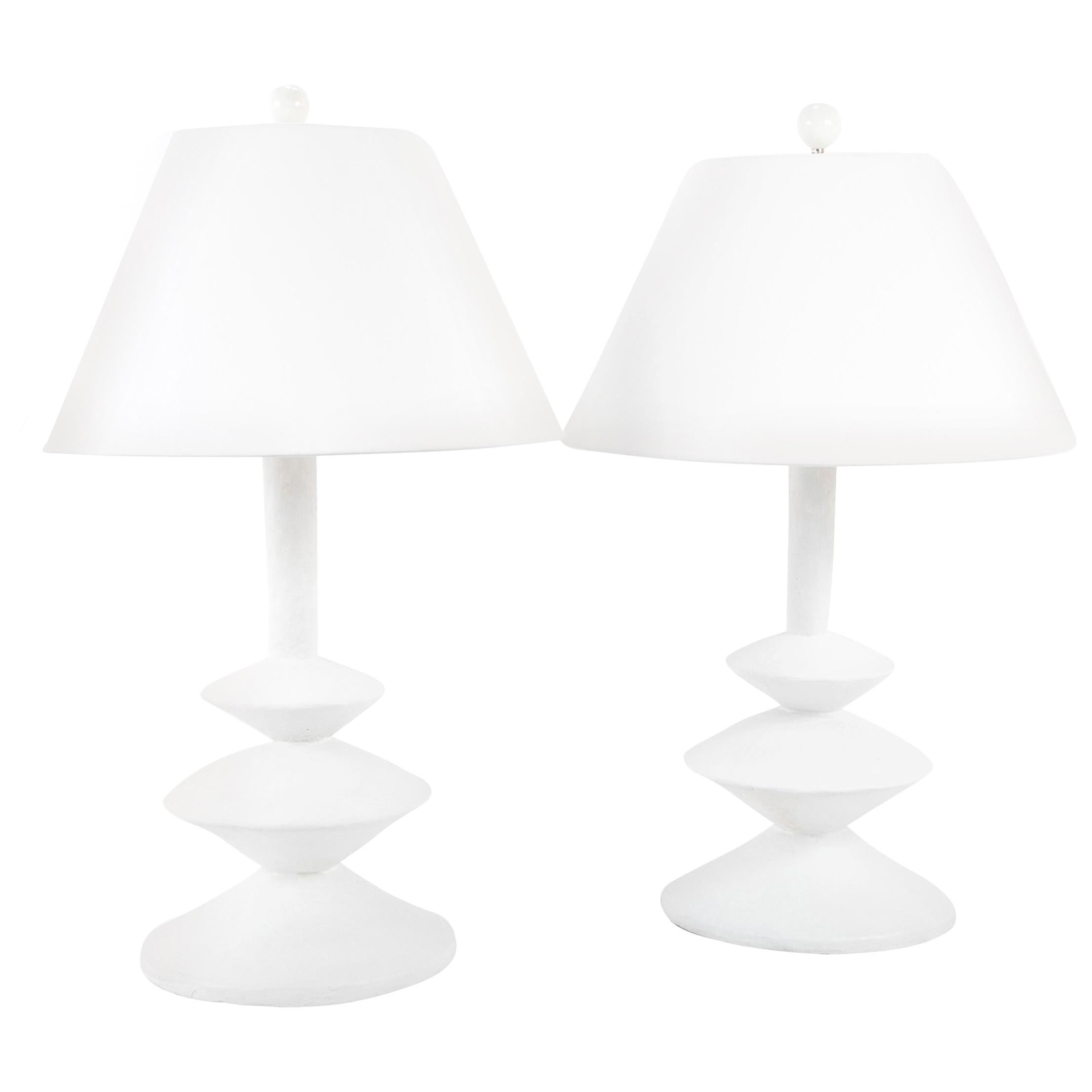 Pair of Waxed Plaster Lamps