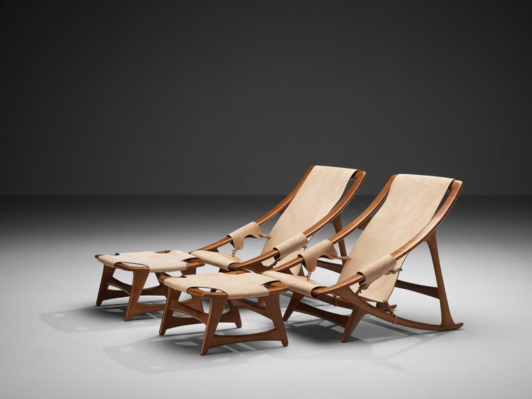 Mid-20th Century Pair of W.D. Andersag Lounge Chairs with Ottoman For Sale