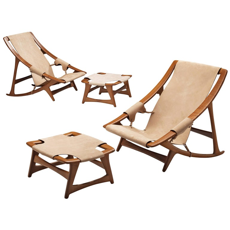 Pair of W.D. Andersag Lounge Chairs with Ottoman For Sale