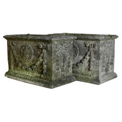 Pair of Weathered Adam Style Composition Stone Planters