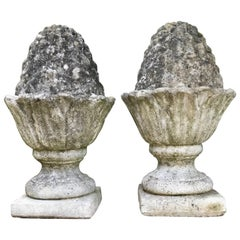Pair of Weathered English Cast Stone Pineapple Finials