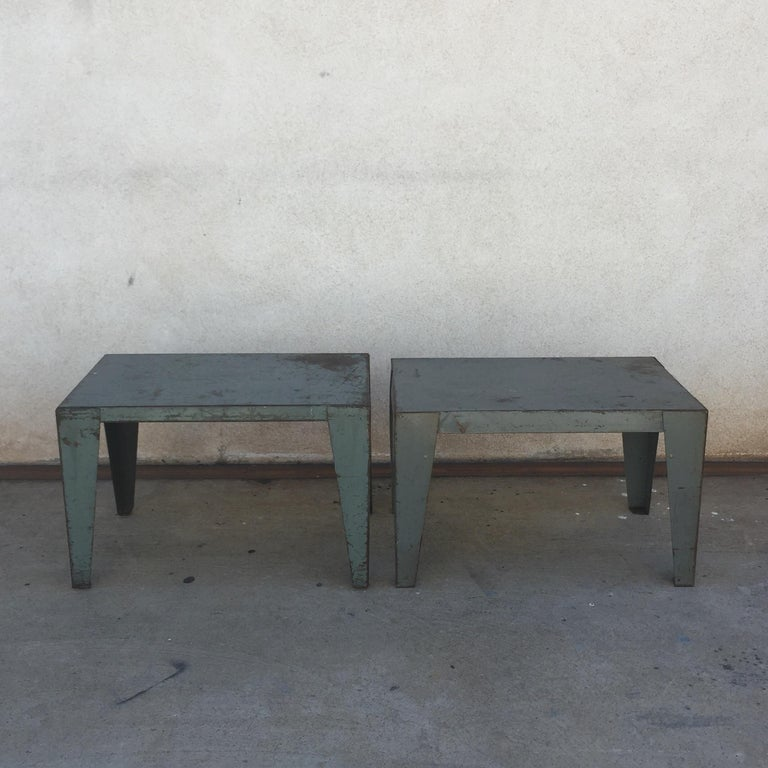 Pair of weathered industrial end tables or side tables. Great look.