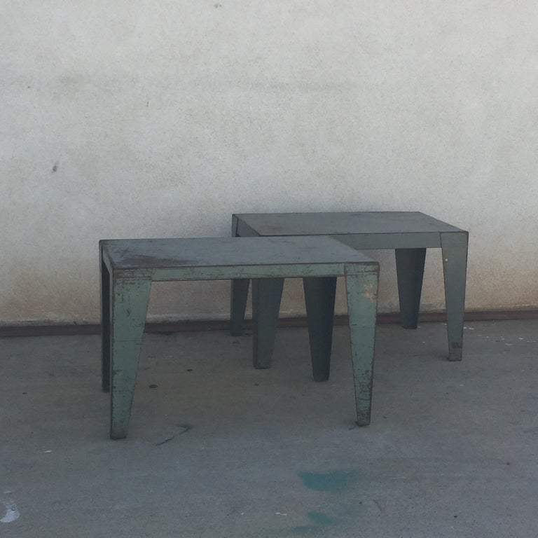 American Pair of Weathered Industrial End Tables or Side Tables For Sale
