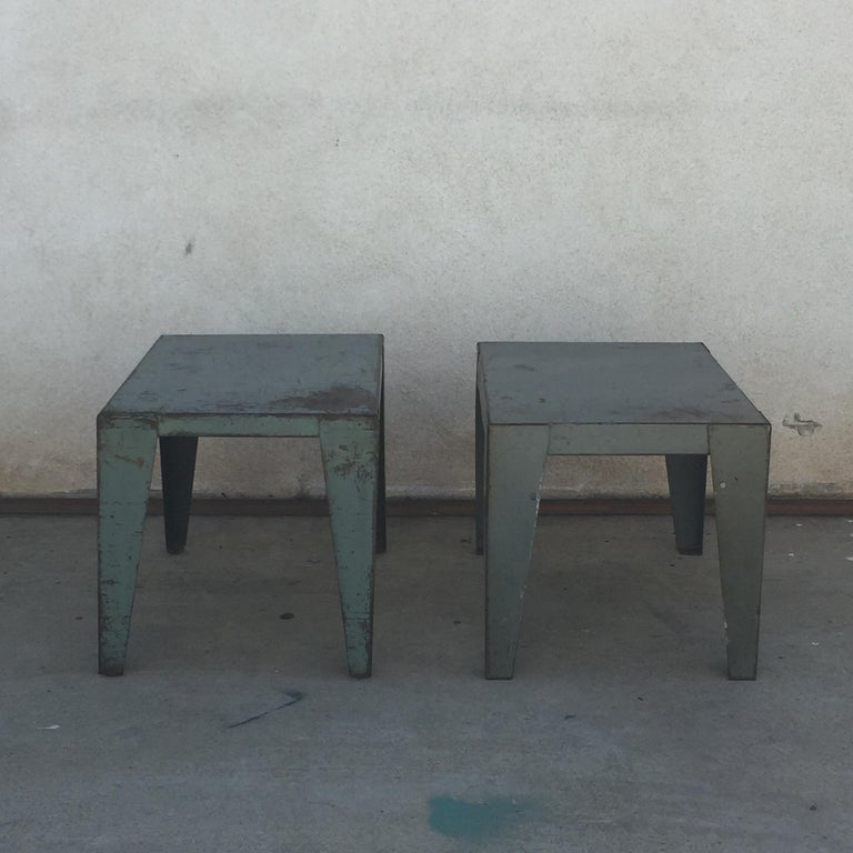 Painted Pair of Weathered Industrial End Tables or Side Tables For Sale