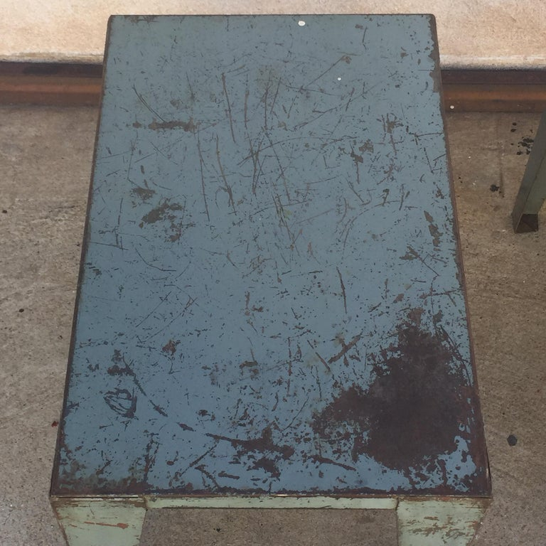 Pair of Weathered Industrial End Tables or Side Tables In Good Condition For Sale In Los Angeles, CA