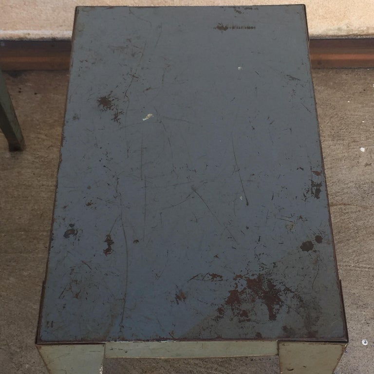 Mid-20th Century Pair of Weathered Industrial End Tables or Side Tables For Sale